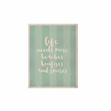 "Sylvia Cook ""Beaches & Bonfires - Mint"" Green Typography KESS Naturals Canvas (Frame not Included)"