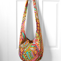 Hobo Bag, Sling Bag, Retro, Psychedelic, Paisley, Geometric, Floral, Hippie Purse, Crossbody Bag