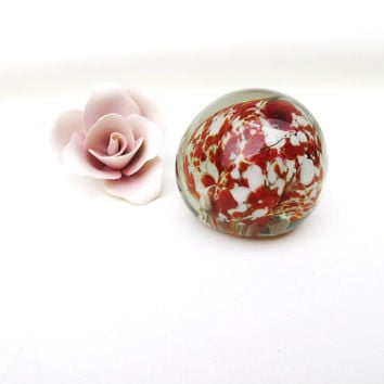 Vintage Art Glass Paperweight / Flower Paper Weight / Blown Glass Paper Weight / Red White