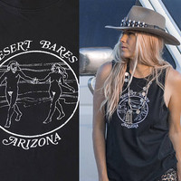 Desert Bares Black Sleeveless Tee | Mens Muscle Shirt womens Muscle Tank | Black Motorcycle 60s 70s Vintage Style festival nude graphic tee