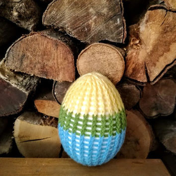 Crochet Ester eggs, spring colours Easter egg, tricolor crochet egg, Easter decorations, Easter gifts, very large, Easter egg
