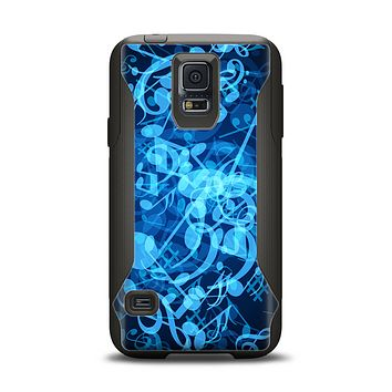 The Glowing Blue Music Notes Samsung Galaxy S5 Otterbox Commuter Case Skin Set