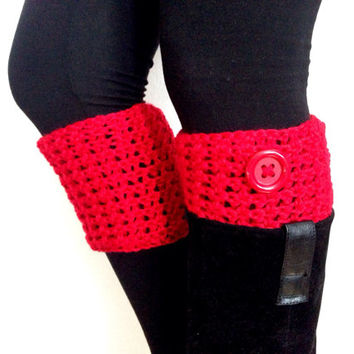 Crochet Boot Topper/ Boot Cuff/ Trending items/ Birthday Gift/ BFF Gift/ Red Boot Topper