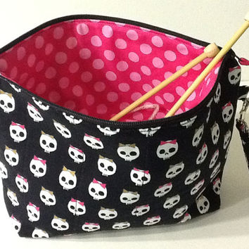 Halloween Skulls Quilted Project Bag, Crochet Project Bag, Knitting Project Bag, Zippered Pouch, Quiltsy Handmade