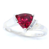 Ruby Trillion Diamond Ring .925 Sterling Silver Rhodium Plated