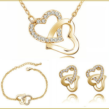 Yellow Gold Plated Double Heart Locket Charm Necklace Birthday Gifts Sets Czech