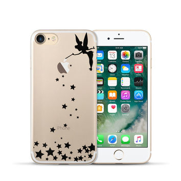 Black Tinkerbell Sprinkling Stars Phone Case For iPhone 7 7Plus