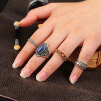 6 PCS Alloy Ring Vintage Turquoise Ring Set [10681938063]