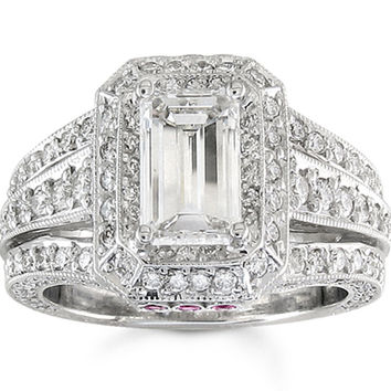 Ladies 14kt white gold antique engagement ring with 2ct Lannyte Emerald cut and 1.25 ctw G-VS2 diamonds