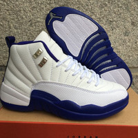 Air Jordan 12 Retro AJ 12 White/Royal Blue Women Basketball Shoes