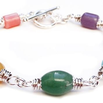 Chunky Pastel Chakra Bracelet, Silver Genuine Gemstone Healing Crystal Intention Jewelry
