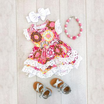 Boutique Baby Girls Kids Dress Ruffle Lace Princess Party Dress Headband Outfits