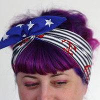 Reversible Wired Bow Headband, Nautical Navy Stripes with Red Anchors and Royal Blue with White Spots