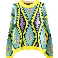 Yellow Geometrical Patterns Print Knit Sweater