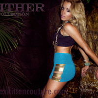 45% OFF SALE Slither in Gold - Cut Out Metallic Bodycon Skirt by Sex Kitten Couture