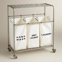 Metal 3-Bag Ashton Laundry Cart