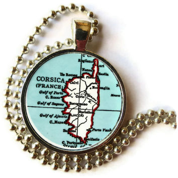 Corsica, France map necklace pendant charm: French map jewelry, France Jewelry, travel necklace