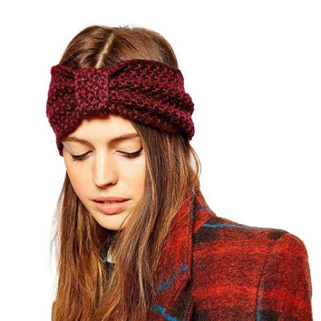 Red Wool Mixed Turban Headband