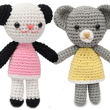 Bears and Cats Handmade Amigurumi Stuffed Toy Knit Crochet Doll VAC