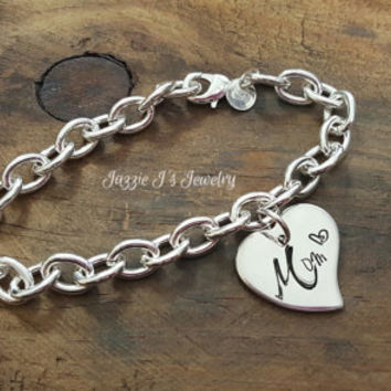 Mom Sterling Silver Bracelet, Mothers Day Gift, Mother Bracelet, Hand Stamped Bracelet with Heart Charm, Mom Jewelry, Heart Bracelet for Mom