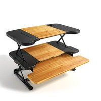 """Konesky Height Adjustable Banboo Laptop Desk Portable Standing Table Foldable PC Stand for Office Home Sitting Standing(Panel Size: 26*16.5"""")"""