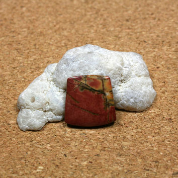 Red Creek Jasper Square Cabochon - Red and Yellow Smooth Undrilled Cab