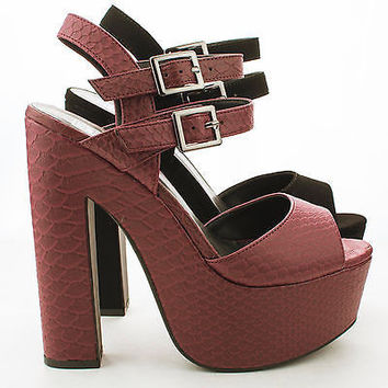 Elda Peep Toe Double Buckle Platform Chunky High Heel Pumps