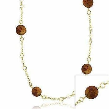 18K Gold over Sterling Silver Freshwater Cultured Golden Coin & White Pearl Chain Necklace, 30 inch
