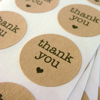 "96 thank you circle stickers 1"" brown kraft paper, envelope seals, stickers"