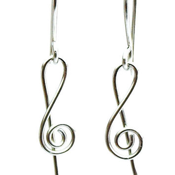 Stainless Steel Treble Clef Small Earrings, Handmade Wire Wrapping dangle earrings, Music Jewely, Music treble clefs