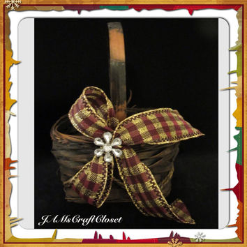 Vintage Natural and Black Woven Flower Girl Basket-Gold Black Burgundy Plaid Bow-Bling Flower-Gift-Wedding-Storage-Home Decor-Country Decor-
