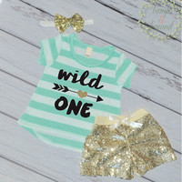 Wild One Girl First Birthday Outfit First Birthday Girl Shirt T-Shirt Shorts Headband Set 1st Birthday Girl 048