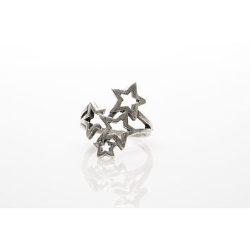 Star Antique Silver Plated Adjustable Ring