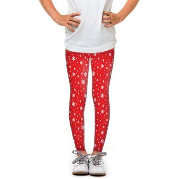 Youth Red Snowflakes Leggings