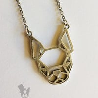 Origami Boston Terrier necklace | dog fashion jewelry - you choose metal color | Geometric Boston Terrier jewelry