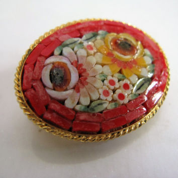 Vintage 80s Brooch Red Floral Micro Mosaic Floral Tile Pin
