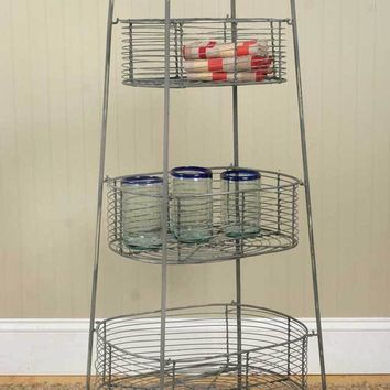 "Three Tier Tall Metal Basket Storage Bin Stand 40"" H"