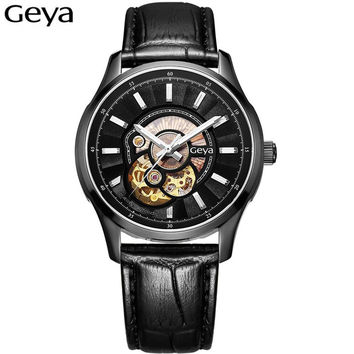 2016 Luxury Top Brand Men Mechanical Watches Tourbillon Hollow Automatic Watch Japan Movement Waterproof Leather Wrist Watches