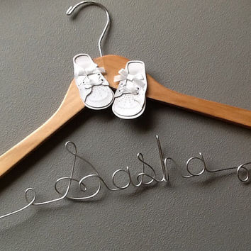 Personalized New Baby Boy/Girl small Child Custom Wire Hanger - Great shower gift