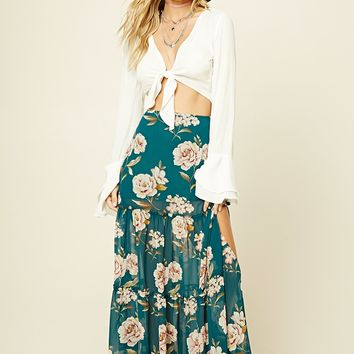 Tiered Floral Print Maxi Skirt