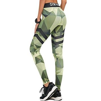 Edove Women Contrast Color Yoga Pants Capris Activewear Exercise Running Leggings Ankle Tights (Small, Green)