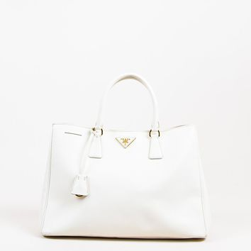 "Prada Cream Gold Tone Saffiano Leather Rolled Top Handle ""Lux"" Tote Bag"