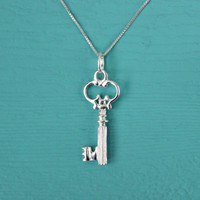 Key Necklace, Large Key to My Heart, 925 Sterling Silver, Valentines Day gifts for her, Valentines gifts