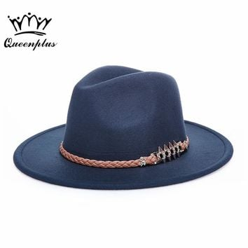 wool Vintage Wide-Brim Lace embroidery Fedoras Hats