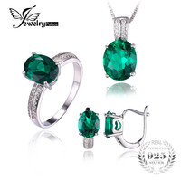 JewelryPalace Oval Cut Green Created Emerald Jewelry Set Earring Ring Pendant Necklace 925 Sterling Sliver Fine Jewelry