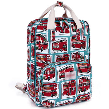 Women's Bus Printed Canvas Laptop Backpack School Bookbag Travel Daypack