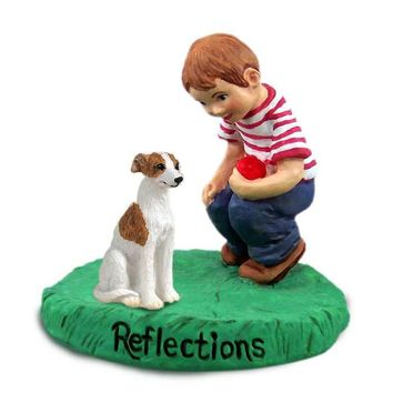 WHIPPET BRINDLE & WHITE REFLECTIONS W/BOY FIGURINE