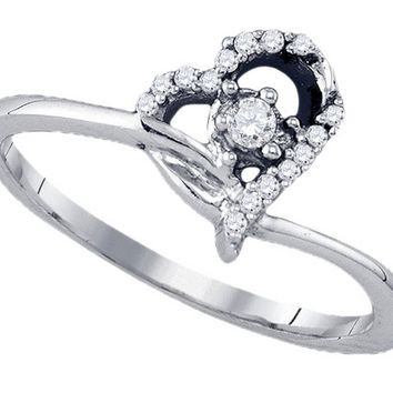 10k White Gold Round Natural Diamond Womens Heart Dainty Promise Bridal Engagement Ring 1/10 Cttw