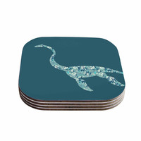 "Alias ""Nessie"" Teal White Coasters (Set of 4)"