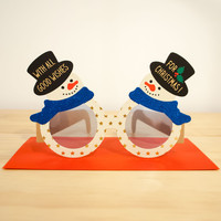 Holiday Party Glasses Greeting Card Snowman